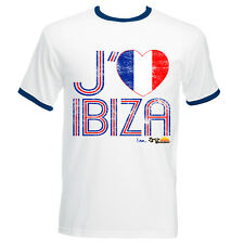 I Love Ibiza: France Loves Ibiza Men's Vintage T-shirt in Blue White Navy