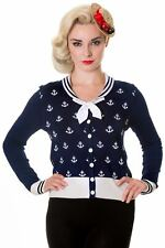 Blue White Anchors Vintage 50's Rockabilly Retro Cardigan By Banned Apparel