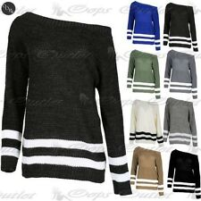 Womens Chunky Knitted Off Shoulder Jumper Ladies Bardot Oversized Baggy Sweater