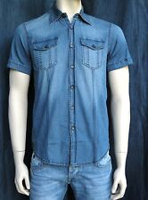 Camicia In Jeans Uomo Slim Fit Denim Vintage Taglia S M L XL XXL