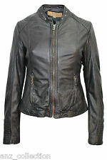 Brampton London Ladies Sian Black Designer Stylish Fashion Wax Leather Jacket