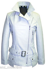 Boston White Ladies Women Designer Fashion Soft Lambskin Leather Short Jacket