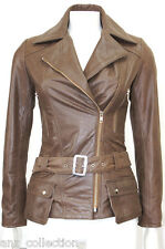 Boston Brown Vintage look Celebrity Designer Fashion Italian Real Leather Jacket