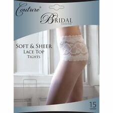 Wedding Bride Bridal lace top tights nylons panty hose M-XL white ivory