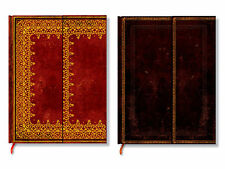 Paperblanks Old Leather Foiled/Black Moroccan Notebooks, Ultra/Midi, Ruled/Plain
