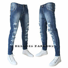 Jeans Uomo Strappato Vita Bassa Slim Fit Denim Made In Italy Bellois Fashion