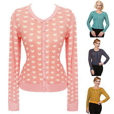 Womens Ladies Sexy Love Heart Retro Vintage 1950s Pinup Fine Knit Cardigan Top