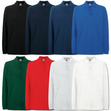 FRUIT OF THE LOOM POLOSHIRT LONGSLEEVE LANGARM POLO T-SHIRT S M L XL XXL 3XL