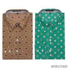 Ladies Womens Green Brown Polka Dots Fitted Shirt Long Sleeve Blouse Casual Tops