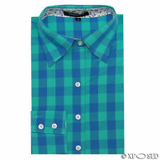 New Ladies Womens Blue Green Checks Fitted Shirt Long Sleeve Blouse Casual Tops