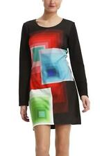Desigual Ymanga Larga Dress L XL 14 16 RRP£99  Black Bright Shapes Jersey