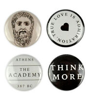 Plato Badges, buttons, philosopher, Socrates, Aristotle, Academy in Athens, Gree