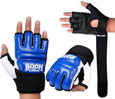 Leather Blue Body Combat Gel Gloves MMA Boxing Punch Bag Martial Arts UFC Thai