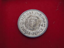 SCARCE 1943 GEORGE V1 SILVER THREEPENCE IN A VERY HIGH GRADE  WITH  LUSTRE A90