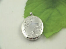 Sassi SL1004 Ladies Large 925 Sterling Silver Half Engraved Oval Locket