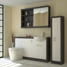 Bathroom Furniture Suite Vanity Mirror Tall Cabinet with-out Unit Grey & White