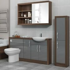 Bathroom Furniture Suite Vanity Mirror Tall Cabinet with-out Unit Walnut &Silver