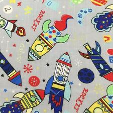 "Printed poly cotton Grey with Rockets 115cm 45"" wide sold by metre"