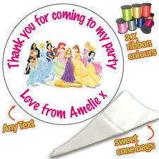 24 Personalised Disney Princess DIY Sweet Cone Ribbon Party Bags Kit Sticker 101