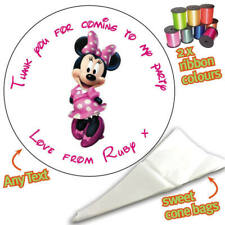 24 Personalised Minnie Mouse DIY Sweet Cone Ribbon Party Bags Kit Stickers 009