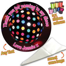 24 Personalised Disco Ball Dome DIY Sweet Cone Ribbon Party Bags Kit Sticker 707