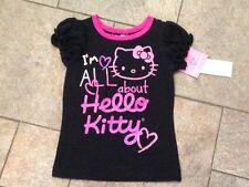 NWT Hello Kitty T Shirt Top Short Sleeved Black Pink All About Hello Kitty 4 5