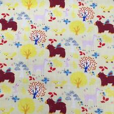 "Printed poly cotton Forest Animals Lemon 115cm 45"" wide sold by metre"