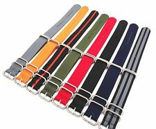 NATO G10 Nylon Strap Strong Watch Band Silver 5 Ring Zulu Buckle 20-24 diameter