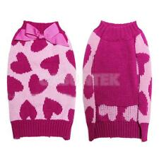 Pet Dog Puppy Heart Print Costume Knit Sweater Coat Apparel Clothing Size XS-L