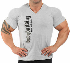 V-NECK GREY  BODYBUILDING T-SHIRT WORKOUT  GYM CLOTHING J-114