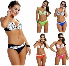Ladies Stars Design Deep Plunge Underwired Bikini Set Swimwear Italian Fabric