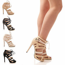 LADIES WOMENS LACE UP HEELS HIGH PLATFORM SHOES PARTY GLADIATOR SNAKE SIZE