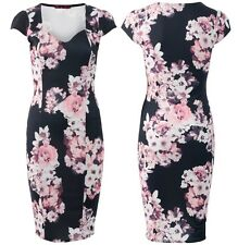 NEW LADIES WOMEN FLORAL CHERRY BLOSSOM SWEETHEART NECK BODYCON MIDI DRESS
