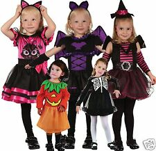 Toddler Girls Halloween Costumes Cute Pumpkin Bat Skeleton Cat or Witch Age 2-3