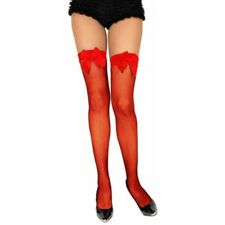 Adult Red Fishnet Thigh High Stockings With Lace Top & Bow