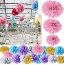 Wedding Party 3 Sizes Decoration Tissue Paper x 10 Pom Poms Flower Lantern Ball