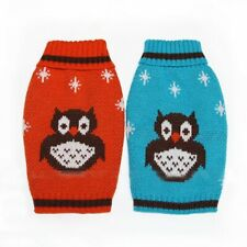 Pet Dog Puppy Turtleneck Sweater Clothes Apparel Coat with Owl Pattern Size XS-M