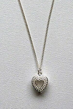 SILVER PLATED AND CRYSTAL OPEN HEART PENDANT AND SILVER PLATED NECKLACE CHAIN