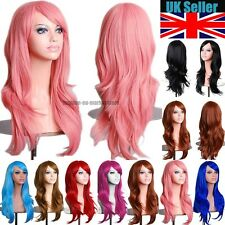 Long Wavy Layered Wig Cosplay Full Wigs Cap Hair Nets Blonde Brown Golden Yellow