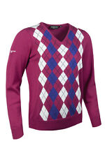 Glenmuir Ladies V Neck Argyle Golf Sweater Vegas