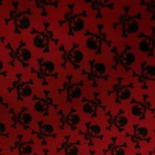 Printed RED Poly Cotton with BLACK SKULLS 115cm poly cotton sold by metre