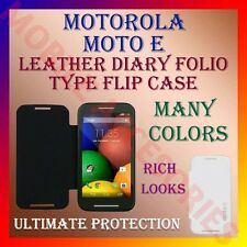 ACM-LEATHER DIARY FOLIO FLIP CASE for MOTOROLA MOTO E MOBILE FRONT & BACK COVER