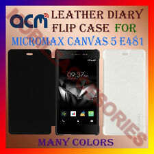 ACM-LEATHER DIARY FOLIO FLIP CASE for MICROMAX CANVAS 5 E481 FRONT & BACK COVER