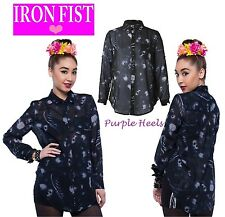 Iron Fist Infidelity Damned Souls Black Chiffon Blouse Size Small Last One!