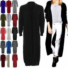 Women Ladies Longline Chunky Knitted Long Sleeve Midi Length Cardigan Jumper Top