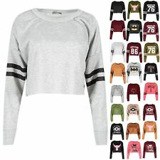 Womens Ladies Sports Stripe Raw Edge Knitted Baggy Fleece Cropped Sweatshirt Top