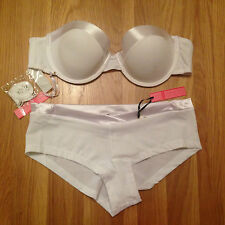 CLEARANCE! Sexy White Padded Bra & Boxer Lingerie Set
