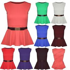 Womens Ladies Gold Belt Buckle Sleeveless Stretch Peplum Flared Frill Blouse Top
