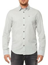 NEU TOMMY HILFIGER DENIM HEMD HERREN THDM BASIC SOLID SHIRT L/S 16 GRAU GRAY MEN