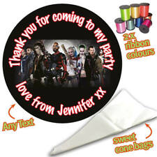 24 Personalised Suicide Squad DIY Sweet Cone Ribbon Party Bags Kit Stickers 850